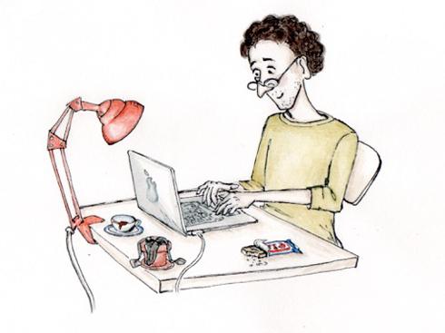 Mann sitzt an Laptop und schreibt
