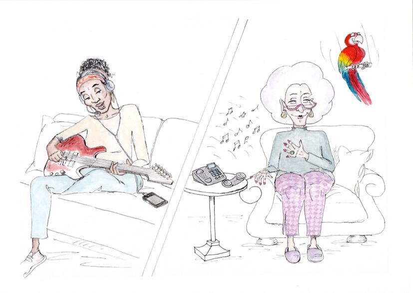 Frau wird von Musiktherapeutin ihr Lieblingslied vorgespielt