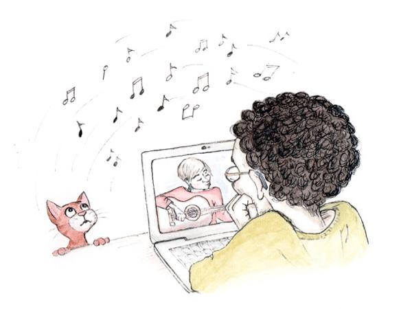 Mann spricht via Laptop mit einer Frau
